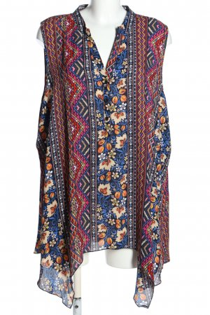 Oversized Bluse Allover-Druck Casual-Look Polyester