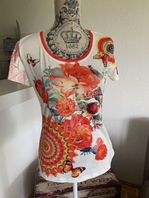 Spicy! Spitzen Shirt/Top - White/Color - Größe S/M 34/36 - Glitter/Flower