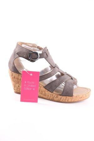 Sandały klinowe na obcasie brązowy W stylu casual