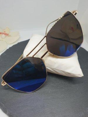 Angular Shaped Sunglasses rose-gold-coloured-dark blue