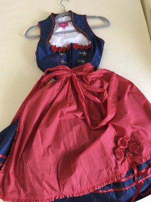 Krüger Dirndl Vestido corsage azul-rojo