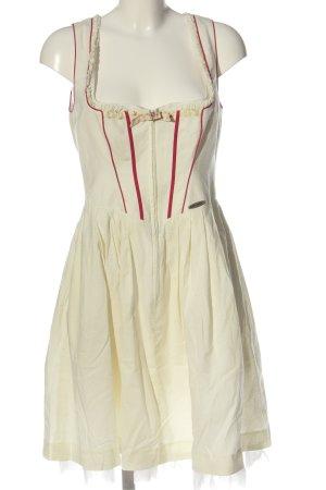 Spieth & Wensky Dirndl w kolorze białej wełny Wzór w kropki Styl klasyczny