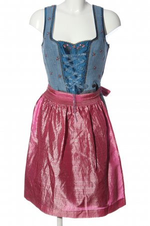 Spieth & Wensky Dirndl blau-pink Schriftzug gestickt extravaganter Stil