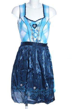 Spieth & Wensky Dirndl blu-bianco motivo a quadri elegante