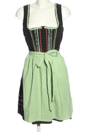 Spieth & Wensky Vestido Dirndl negro-verde estampado a cuadros estilo clásico