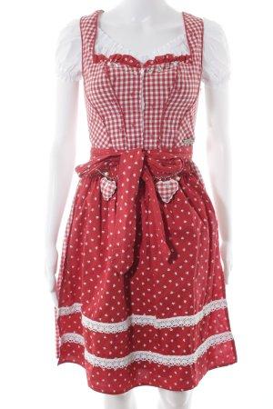 Spieth & Wensky Dirndl rot-weiß Blumenmuster klassischer Stil