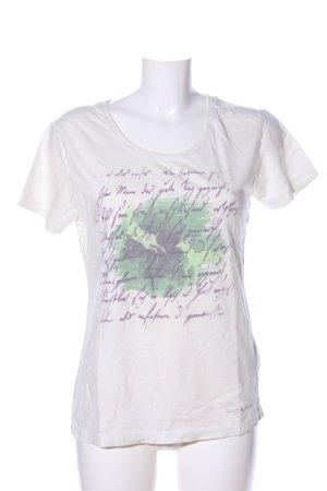 Spieth & Wensky Print-Shirt wollweiß-grün Motivdruck Casual-Look