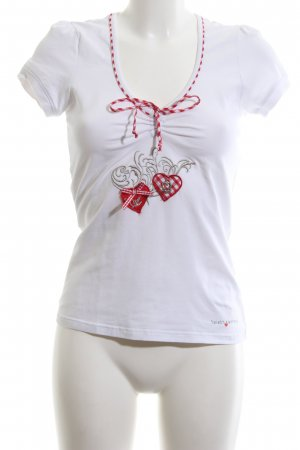 Spieth & Wensky T-Shirt weiß-rot Motivdruck Casual-Look