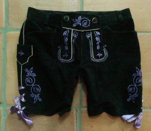 Spieth & Wensky Traditionele leren broek zwart-paars Leer