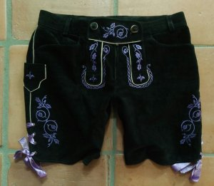 Spieth & Wensky Pantalon traditionnel en cuir noir-violet cuir