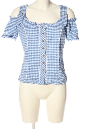 Spieth & Wensky Blusa folclórica azul-blanco estilo clásico