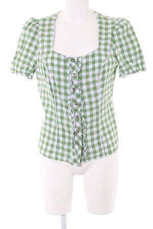 Spieth & Wensky Trachtenbluse grün-weiß Karomuster Elegant