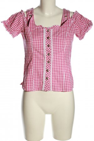 Spieth & Wensky Trachtenbluse pink-weiß Karomuster Casual-Look