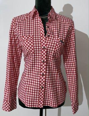 Spieth & Wensky Blusa tradizionale bianco-rosso neon Cotone
