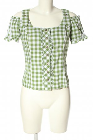 Spieth & Wensky Trachtenbluse grün-weiß Karomuster Casual-Look