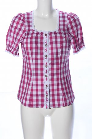 Spieth & Wensky Traditional Blouse white-pink check pattern casual look