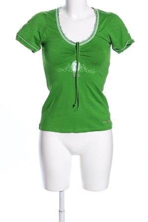Spieth & Wensky Folkloristische blouse groen-wit casual uitstraling