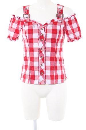 Spieth & Wensky Blusa tradizionale rosso-bianco stampa integrale stile casual