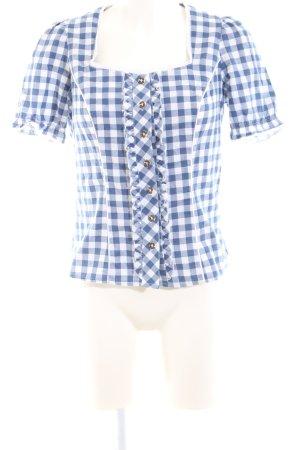 Spieth & Wensky Folkloristische hemd blauw-wit geruite print elegant