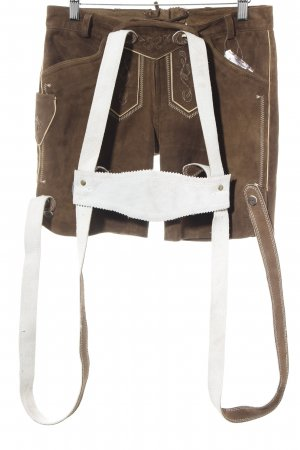 Spieth & Wensky Tradycyjne skórzane spodnie brązowy-kremowy