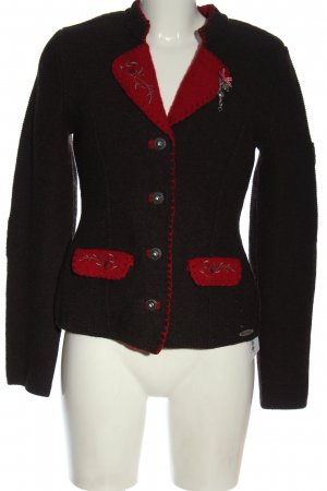 Spieth & Wensky Trachtenpullover schwarz-rot abstraktes Muster klassischer Stil