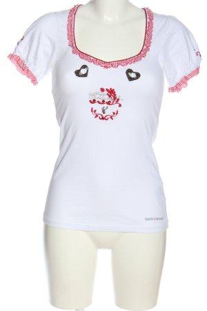 Spieth & Wensky U-Boot-Shirt weiß-rot Motivdruck Casual-Look