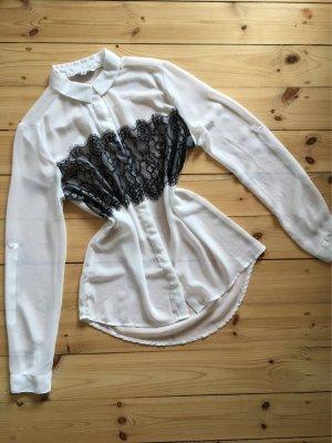 Spietzenbluse Transparent Spitzenbluse Langarmhemd Bluse Spitzenhemd transparent