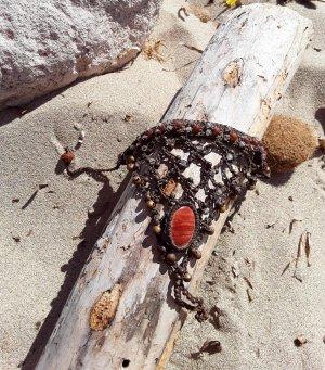 Chaîne de cheville brun-orange foncé