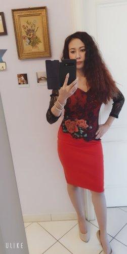 iHot Sukienka dresowa czarny-czerwony neonowy