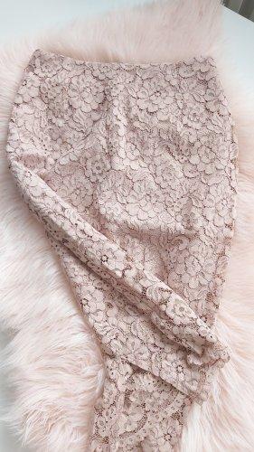 H&M Falda de encaje rosa empolvado