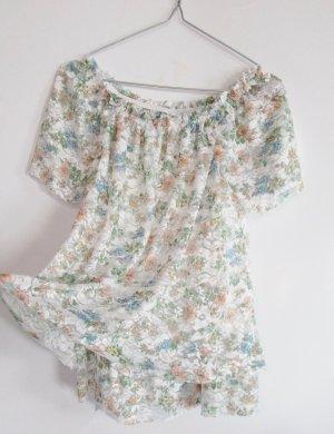 Camisa tipo Carmen multicolor tejido mezclado