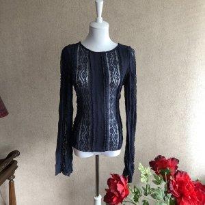 Spitzen Bluse in dunkelblau neu vintage