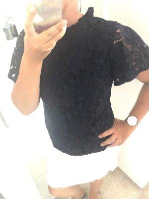 Spitzen Bluse Top Gr. 38 M Dunkelblau