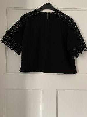 Cropped shirt zwart-zilver