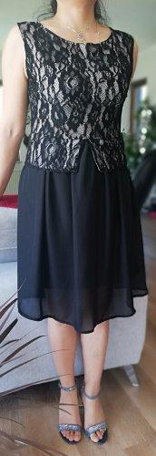 100% Fashion Vestido de encaje blanco-negro