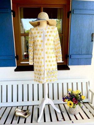 Benetton Geklede jurk wolwit-goud Oranje Linnen