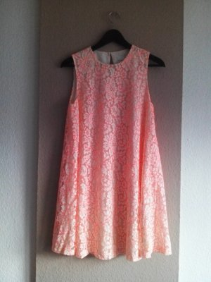 Spitzen Minikleid in orange-creme, Größe 38, neu