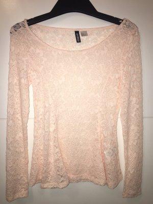 H&M Camisa larga rosa-crema