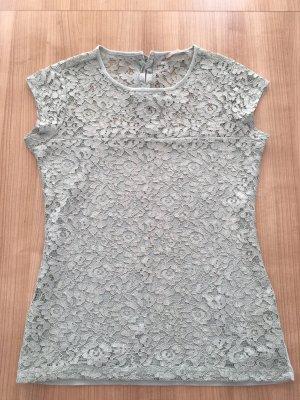 Tally Weijl Siateczkowa koszulka szaro-zielony Tkanina z mieszanych włókien