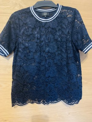 Only Top en maille crochet bleu foncé-blanc