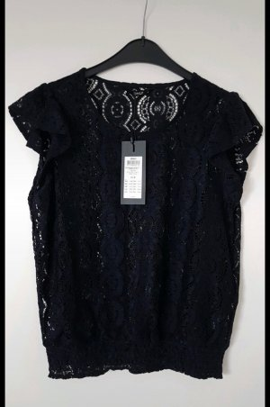 Only Top en maille crochet bleu foncé