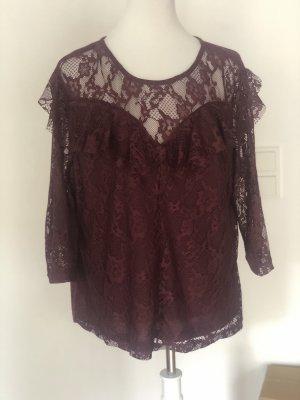 Laura Torelli Camisa de malla burdeos-carmín