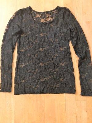Spitzen-Shirt von H&M Gr. M / 38 in schwarz