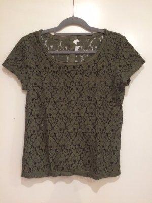 Spitzen T-Shirt khaki