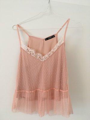 Mango Top di merletto rosa chiaro
