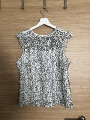 H&M Top di merletto bianco-nero