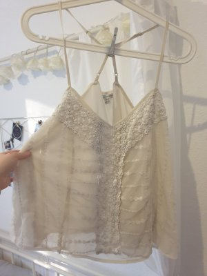 American Eagle Outfitters Lace Top cream polyester