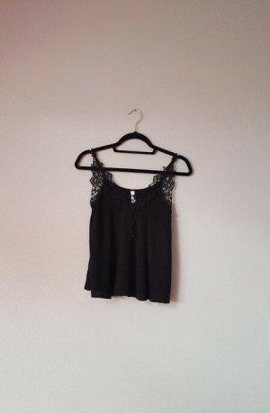 Spitzen Top Shirt schwarz, New Yorker Amisu Größe XS