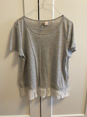 H&M Siateczkowa koszulka biały-jasnoszary