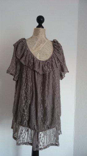 Style Koronkowa bluzka camel